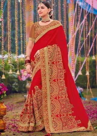 Heavy Pallu Evening Wedding Saree, Party Wear Saree India